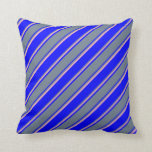 [ Thumbnail: Blue, Slate Gray & Light Pink Stripes Throw Pillow ]