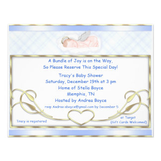 Blue Sleeping Angel Baby Shower Invitations