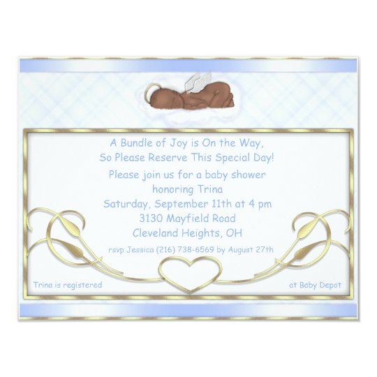 Blue Sleeping Angel Baby Shower Invitations