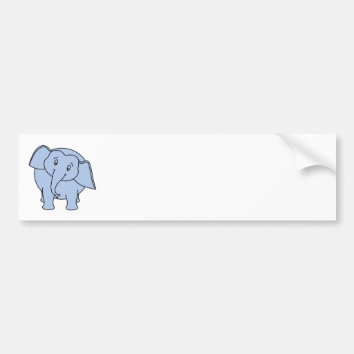 Blue Sleepy Elephant. Cartoon. Bumper Sticker