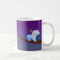 Blue Sleepy Owls Personalized Mug