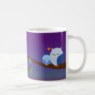 Blue Sleepy Owls Personalized Mug