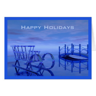 Blue Sleigh on Ice Happy Holidays Card Template
