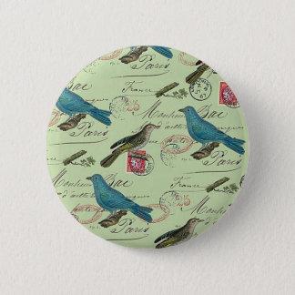 Blue small birds pinback button