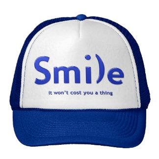 Blue Smile Ascii Text Hat