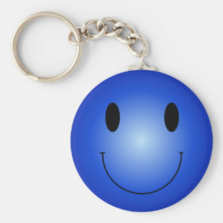 Blue Smiley Basic Round Button Keychain