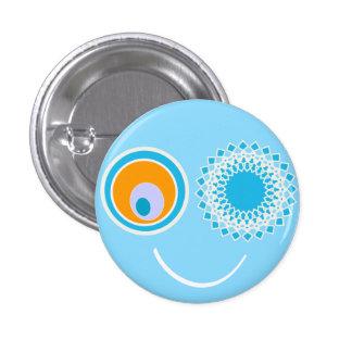 Blue Smiley Face Button