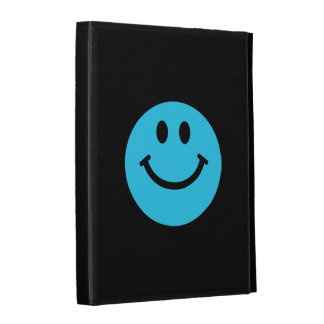 Blue smiley face iPad cases