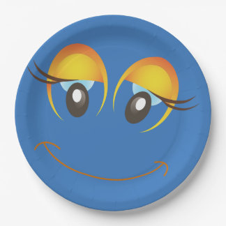 Blue Smiley Face Laugh Emoticon Birthday Party Paper Plate