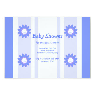 Blue Smiley Flowers Boy Baby Shower Card