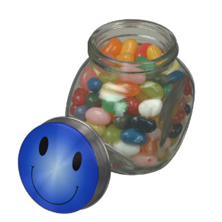 Blue Smiley Glass Jars