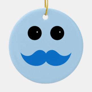 Blue Smiley Mustache Emoticon Ceramic Ornament