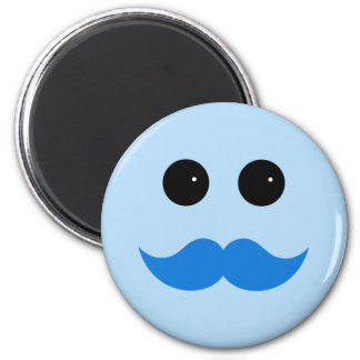 Blue Smiley Mustache Emoticon Magnet