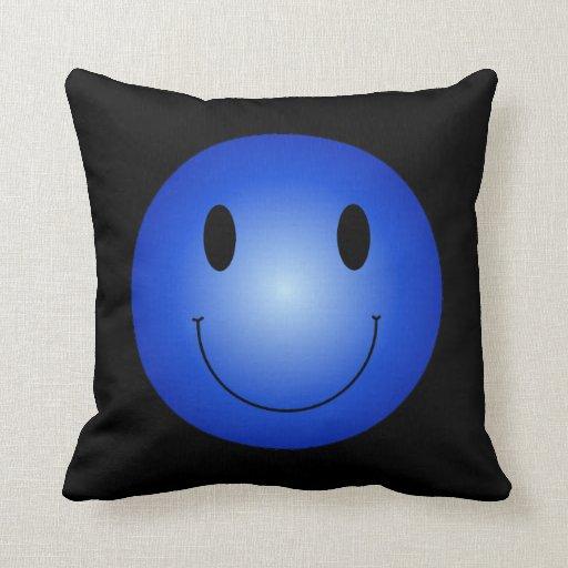 Blue Smiley Throw Pillow