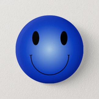 Blue Smiley Pinback Button