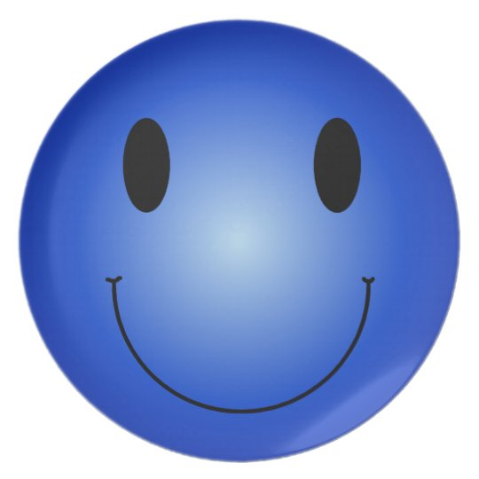 Blue Smiley Plate
