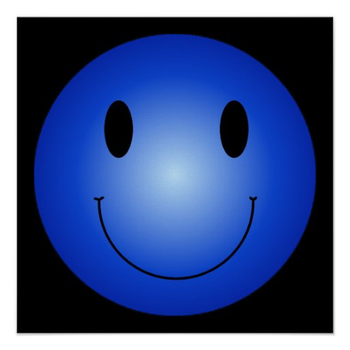 Blue Smiley Poster