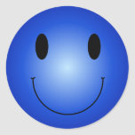 Blue Smiley Round Sticker