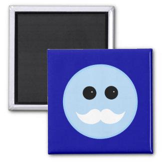 Blue Smiley White Mustache Emoticon 2 Inch Square Magnet