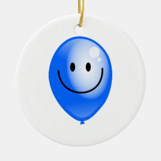 Blue Smilie Balloon Ceramic Ornament