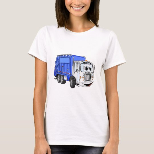 Blue Smiling Cartoon Garbage Truck T-Shirt