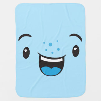 Blue Smiling Kawaii Face Baby Blanket