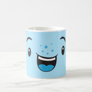 Blue Smiling Kawaii Face Mug