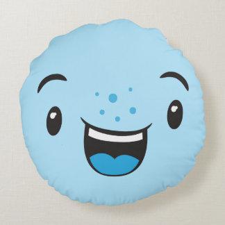 Blue Smiling Kawaii Face Round Pillow