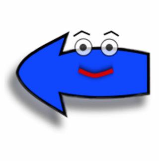 Blue Smiling Left Arrow Statuette