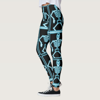 Blue Smiling Skeleton in Squares Leggings
