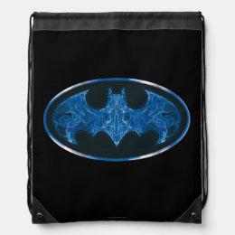 Blue Smoke Bat Symbol Drawstring Backpack