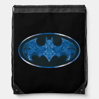 Blue Smoke Bat Symbol Drawstring Backpack