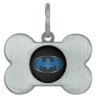 Blue Smoke Bat Symbol Pet ID Tag