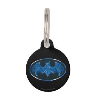 Blue Smoke Bat Symbol Pet Name Tag