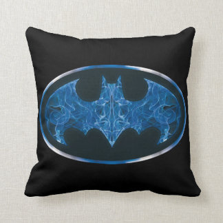 Blue Smoke Bat Symbol Throw Pillow
