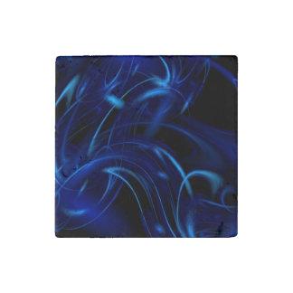 Blue Smoke Fractal Stone Magnet