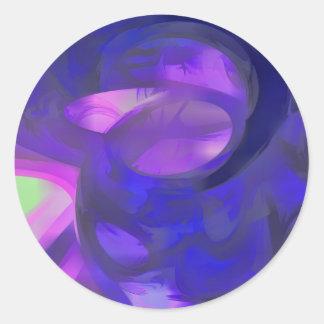 Blue Smoke Pastel Abstract Classic Round Sticker