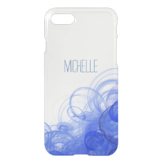 Blue Smoke Swirl with Name iPhone 8/7 Case