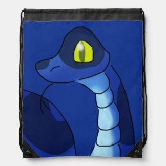 Blue Snake Animal Painting Drawstring Bag