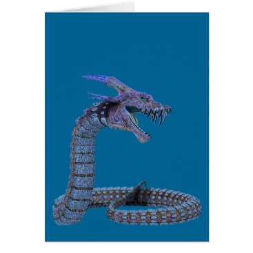 Halloween Themed Blue Snake Dragon Card