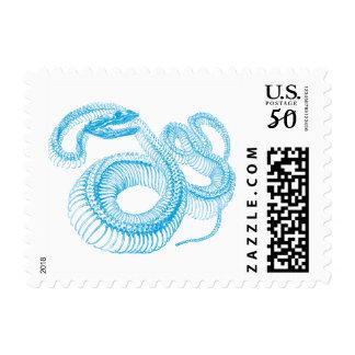 Blue Snake Skeleton Postage Stamps