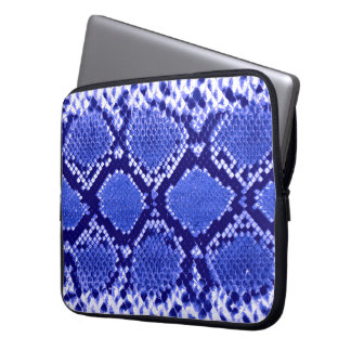 Blue Snakeskin Pattern Laptop Computer Sleeves