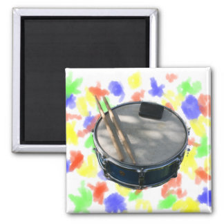 Blue Snare Drum Drumsticks and Muffler 2 Inch Square Magnet