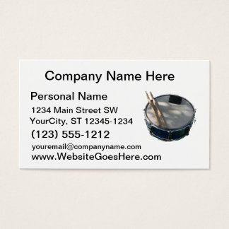 Blue Snare Drum Drumsticks and Muffler Business Card