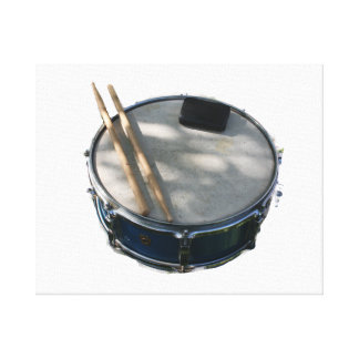 Blue Snare Drum Drumsticks and Muffler Canvas Print