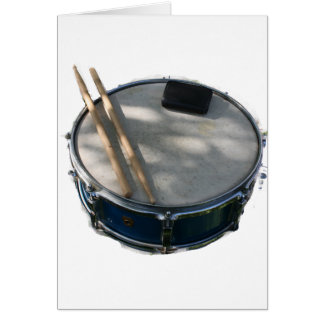 Blue Snare Drum Drumsticks and Muffler Card
