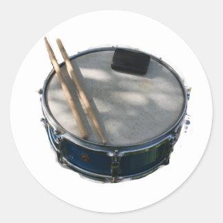 Blue Snare Drum Drumsticks and Muffler Classic Round Sticker