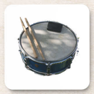 Blue Snare Drum Drumsticks and Muffler Coaster