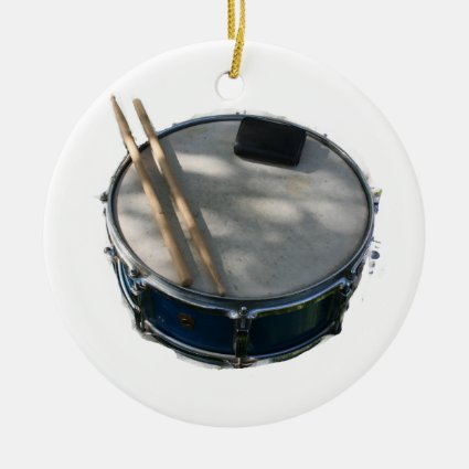 Blue Snare Drum Drumsticks and Muffler Double-Sided Ceramic Round Christmas Ornament