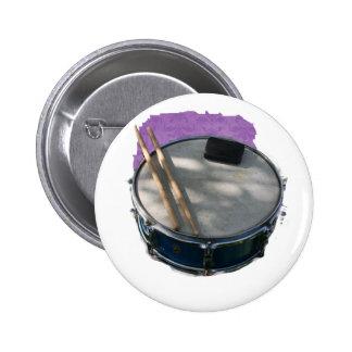 Blue Snare Drum Drumsticks and Muffler Pinback Button